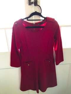 Dotti Red cotton winter dress