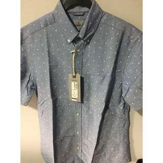 Marks & Spencer light blue printed shirt