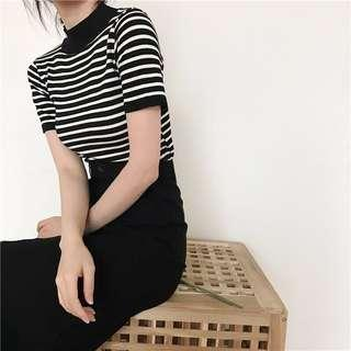 🚚 BN High Neck Black and White Horizontal Striped Top