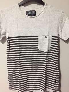 Cotton On black striped tee
