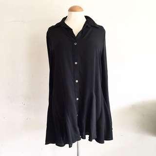 Black chiffon polo