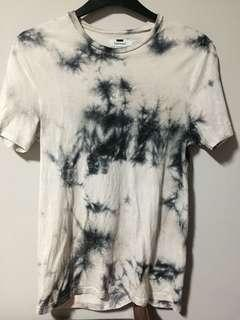 Topman acid wash grey black tee