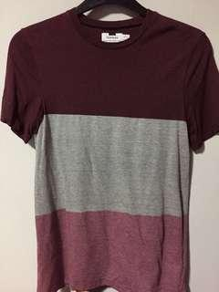 Topman burgundy panel tee