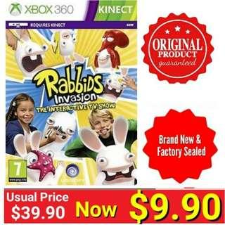 Xbox360 KINECT RABBIDS INVATION: THE INTERACTIVE TV SHOWS.  Usual Price: $39.90  Clerance price : $ 9.90 +  Free Mail Postage (Brand New in box &  Factory Sealed) Last few pieces left.