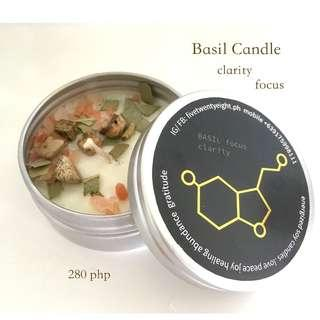 BASIL candles with crystals, eucalyptus leaves and salt