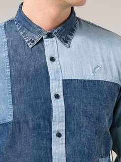 🚚 Publish 單寧拼接水洗棉質排扣長袖襯衫