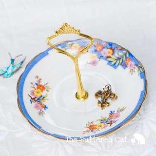 Art Deco Blue Border Floral Jewelry and Trinket Stand, Antiqued Royal Albert from the 30s