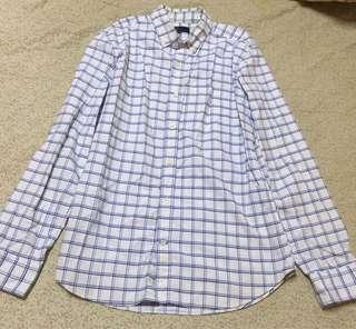 🚚 Gap 藍白格紋格子長袖襯衫