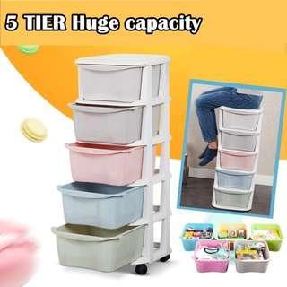 5 Tier Plastic Drawer Cabinet