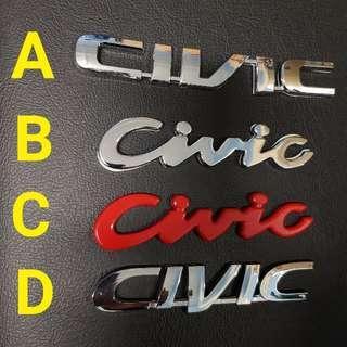 Honda Civic Car Emblem Logo ' Civic '