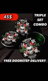 Pay After Receive [Gonzo Super Slick Pomade Stronghold Triple Set]