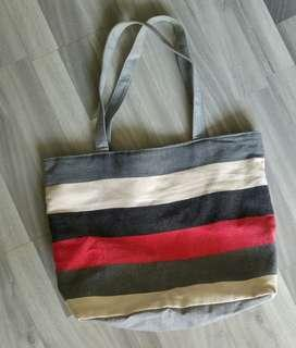 #allforfree FOC Free To Bless Blessing - White Red Black Gray Grey Colour Blocks Sling Tote Bag