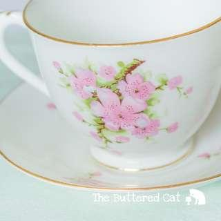 Pretty vintage pink blossom breakfast teacup and saucer