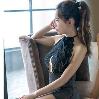 Extremely Tempting Show Off Chest Hanging Neck Sexy Perspective Slim Close-Fitting Hip Skirt Adult Sexy Underwear #279 - Black /Gray