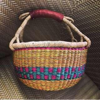 African hand woven fair trade bolga Ghana basket bag market tote