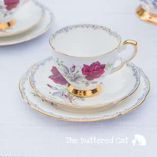 Vintage crimson red rose English bone china tea trio