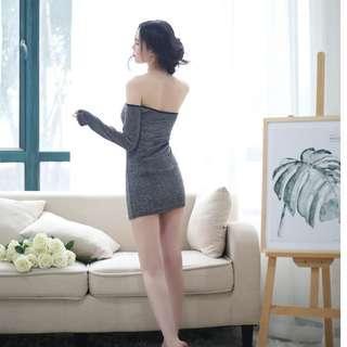 Gray Low-Cut Bag Hips Off-The-Shoulder Sang OL Female Secretary Uniform Temptation Wildfire Sexy Mini Skirt Sexy Lingerie #275
