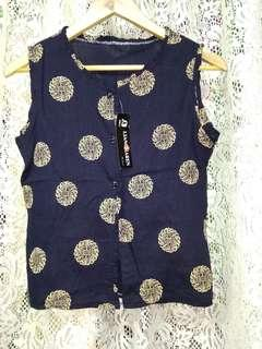 Navy Blue Printed Sleeveless Top