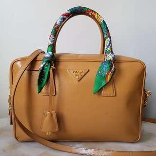 PRADA Saffiano Vernice Shoulder Bag in Cammeo