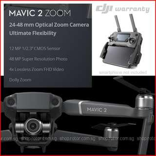 (stock in 13/09/2018) DJI Mavic 2 Zoom Drone. With DJI Warranty. Nett Price.