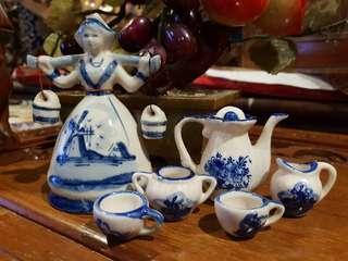 Vintage Holland Dutch porcelain miniature teapot set and milk maid