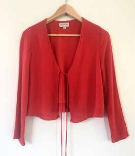 Red Long Sleeve Tie Up Top