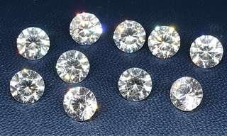🚚 30 cts American White Diamond 10 pieces CZ Round 7.5 m Loose gem