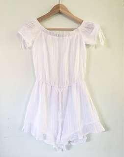 White Frill Bandeau Playsuit