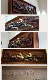 Lukisan pahat kayu jati 8kuda, asli china