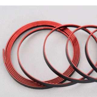 Car Flexible Trim Strip - Sporty Metallic Red Trimming (5 meters)