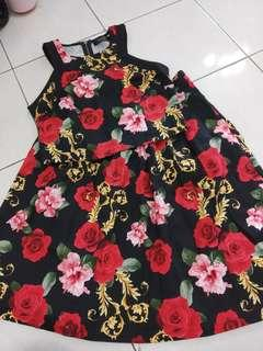 Floral print 2 pcs set wear (crop top with flare midi skirt)