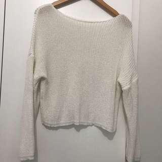 米白色冷衫 white knit top size s