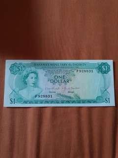 1968 QEII Bahamas Monetary Authority $1 banknote