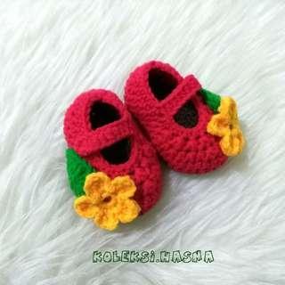 Sepatu bayi rajut prewalker baby shoes pw 3-6 bulan