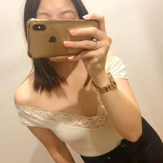 (S) Off-White Off Shoulder Lace Top