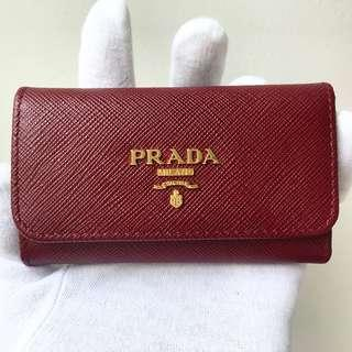 PRADA Cerise Dark Red Saffiano Leather Key Holder Wallet 100% AUTHENTIC+BRAND NEW! #1PG222