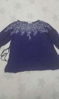 Dark Blue Blouse for Maternity Wear (Long Sleeve)