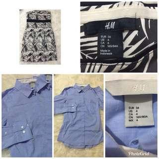 H&M Dress dan kemejanya new  sdh termasuk ongkir