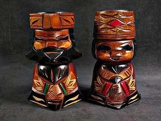 🚚 南美洲原住民 印地安人 實木雕刻品 一對