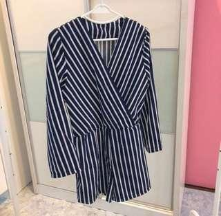 Blue and white stripe jumpsuit #under90