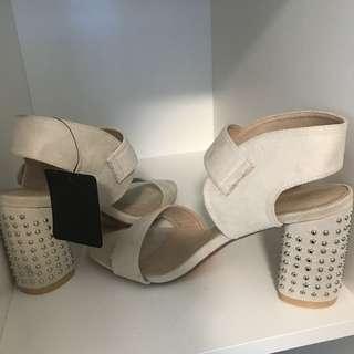 New never worn beige block heels