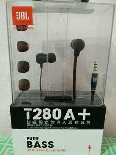BNEW JBL T280A+ PURE BASS Titanium Diaphragm Stereo In-Ear Headphone With Microphone