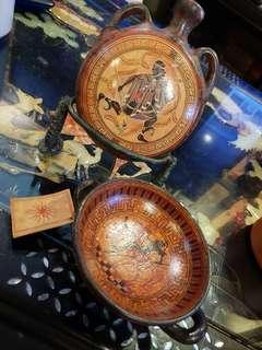 Greece handpainted clay decor items