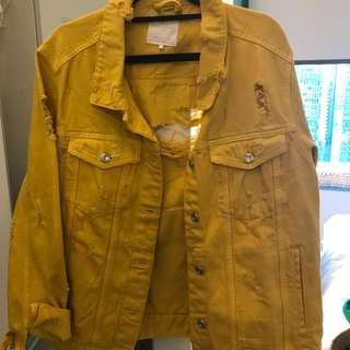 Zara yellow denim ripped jacket