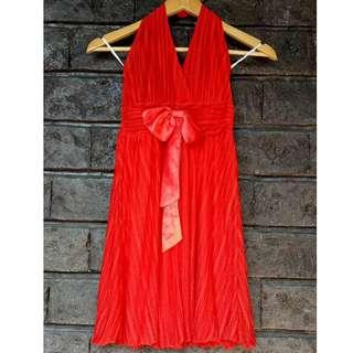 Red Chiffon Dress with Ribbon (Party | Haltered | V-Neck | Backless)