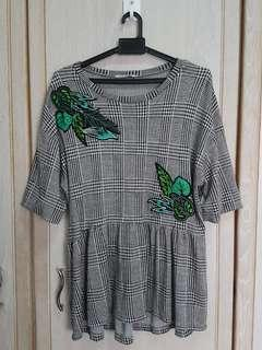 Zara Checkered Blouse with Embroidery