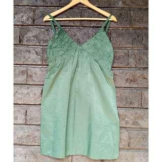 Moss Green Short Dress (Spaghetti Strap | Party | V-Neck)