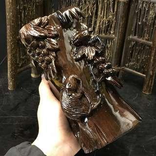 🚚 越南實木雕 筆筒【結實豐碩】栩栩如生