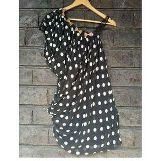 Polka Dot Top with Gold Ribbons (with Strap | Semi-loose | Chiffon | Party | Casual)