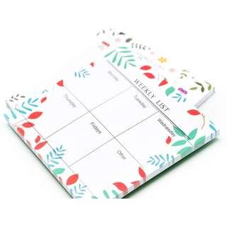 SOLDOUT Flora Theme Weekly Schedule Post It Pad